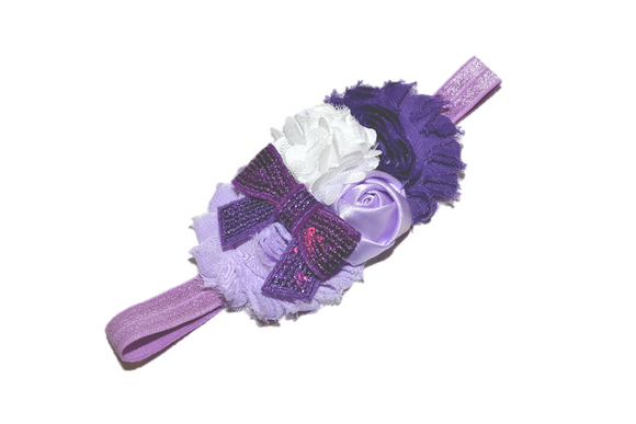 White and Purple Fancy Shabby Rose Headband - Dream Lily Designs