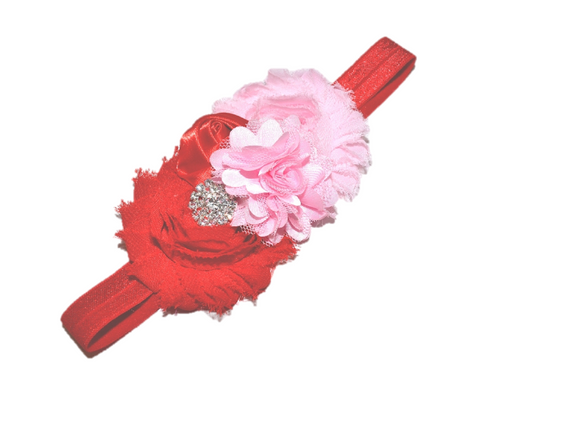 Red and Pink Fancy Shabby Rose Headband - Dream Lily Designs