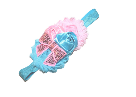 Blue and Light Pink Fancy Shabby Rose Headband - Dream Lily Designs