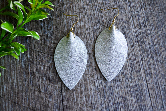 Silver Glitter Pointed Faux Leather Earrings - Dream Lily Designs