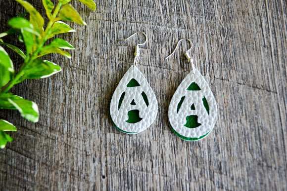 Mini Anna Rocket Green Silver Double Layer Cutout Teardrop Faux Leather Earrings - Dream Lily Designs