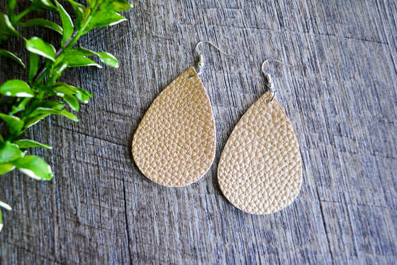 Gold Textured Teardrop Faux Leather Earrings - Dream Lily Designs