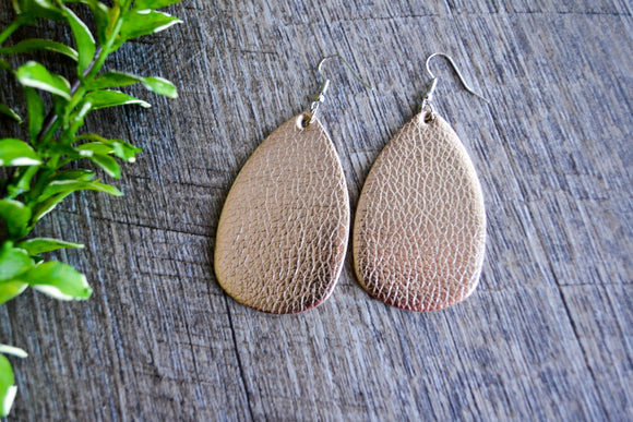 Shiny Gold Teardrop Faux Leather Earrings - Dream Lily Designs