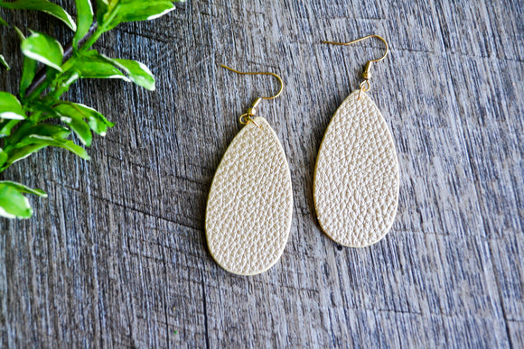 Gold Small Teardrop Faux Leather Earrings - Dream Lily Designs