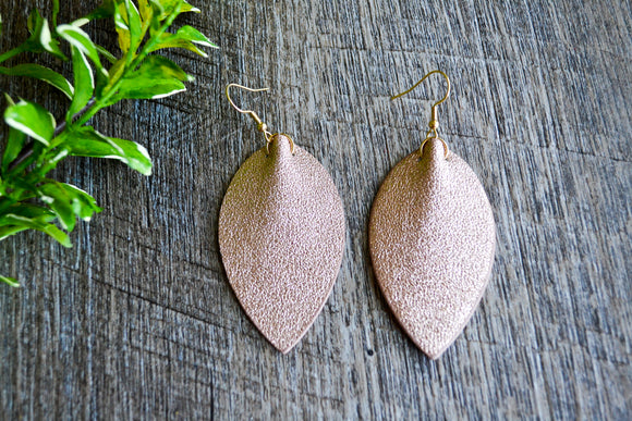 Rosegold Glitter Pointed Faux Leather Earrings - Dream Lily Designs