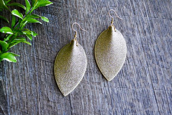 Gold Glitter Pointed Faux Leather Earrings - Dream Lily Designs