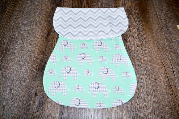 Flannel Burp Cloth - Grey Chevron with Teal and Grey Elephants - Dream Lily Designs