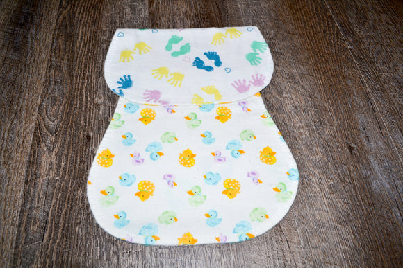 Flannel Burp Cloth - Baby Hands and Feet with Rubber Ducks