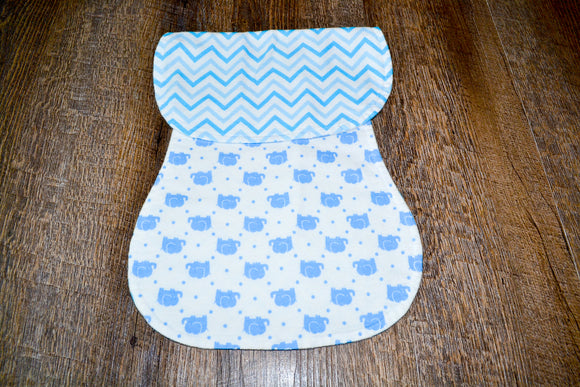 Flannel Burp Cloth - Blue Elephant with Blue Chevron - Dream Lily Designs