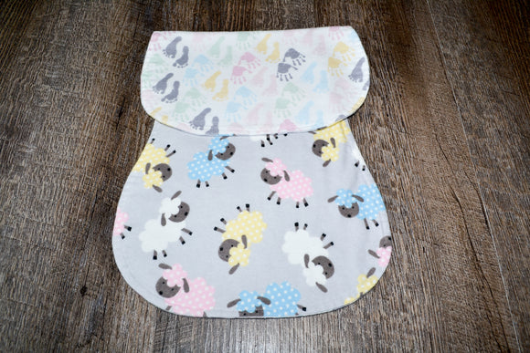 Flannel Burp Cloth - Neutral Baby Hands and Feet with Sheep - Dream Lily Designs