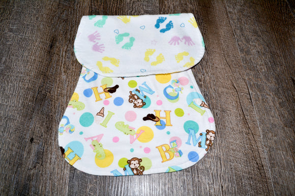 Flannel Burp Cloth - Neutral Baby Hands and Feet with Animals and Letters - Dream Lily Designs