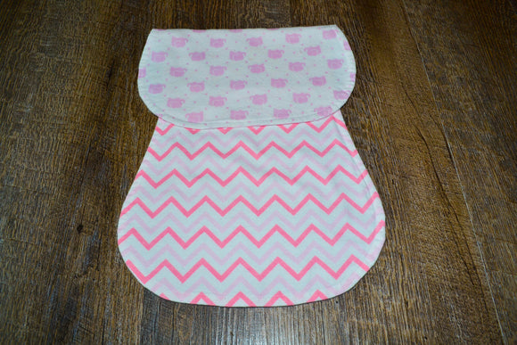 Flannel Burp Cloth - Pink Elephants with Chevron - Dream Lily Designs