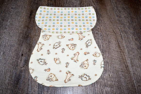 Flannel Burp Cloth - Polka Dots with Animals
