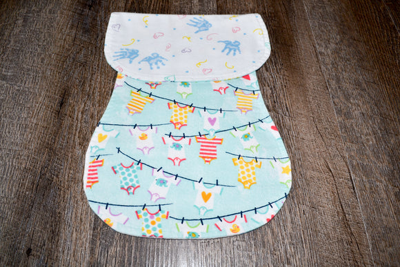 Flannel Burp Cloth - Baby Hands with Baby Clothes on Clothesline