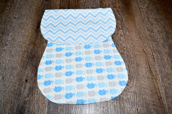 Flannel Burp Cloth - Blue Elephants with Chevron - Dream Lily Designs