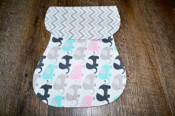 Flannel Burp Cloth - Blue and Pink Elephants with Grey Chevron - Dream Lily Designs