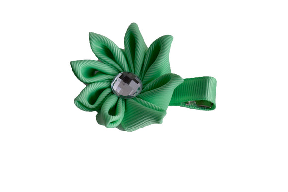 Ribbon Flower Hair Bow - Mint Green - Dream Lily Designs