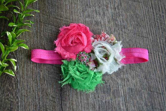 Pink Green White Fancy Shabby Rose Headband - Dream Lily Designs
