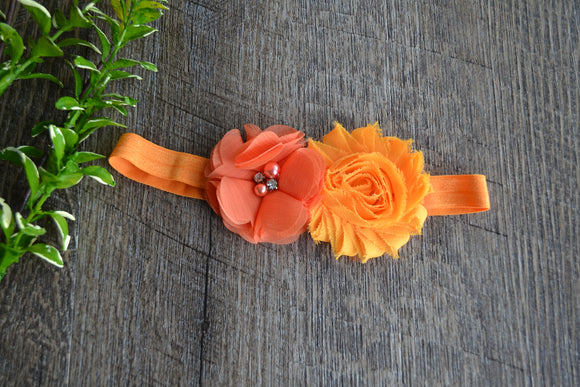 Orange Coral Shabby Chiffon Headband - Dream Lily Designs