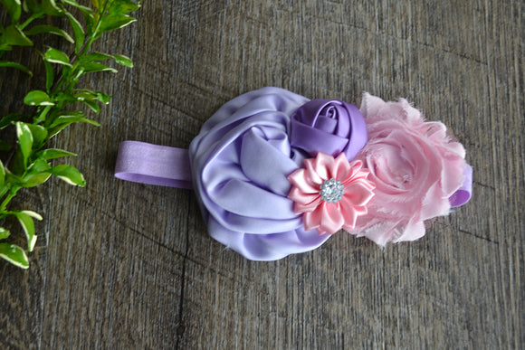 Purple Pink Fancy Shabby Rose Headband - Dream Lily Designs