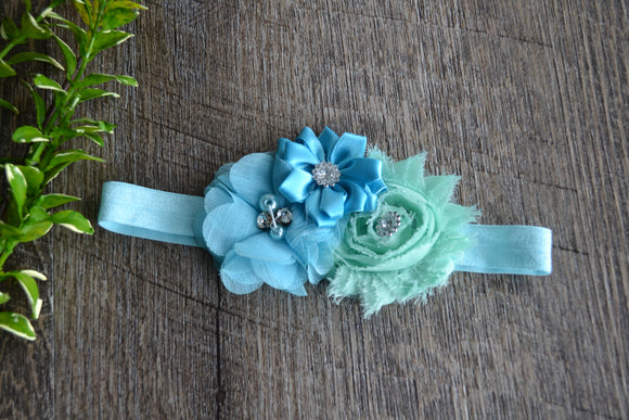 Aqua Bright Blue Mint Fancy Shabby Rose Headband - Dream Lily Designs