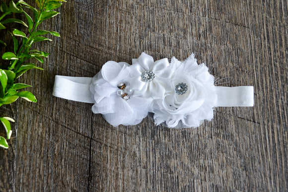White Fancy Shabby Rose Headband - Dream Lily Designs