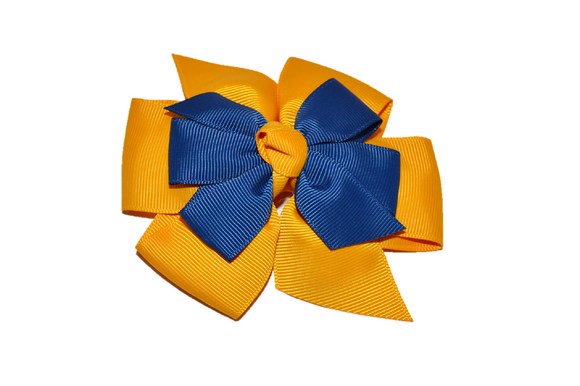 Gold Blue Stacked Boutique Hair Bow