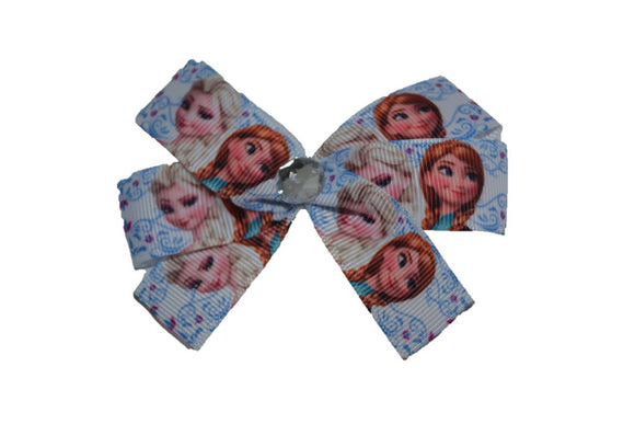Frozen Anna Elsa White with Blue Flowers Princess Bow (Disney) - Dream Lily Designs