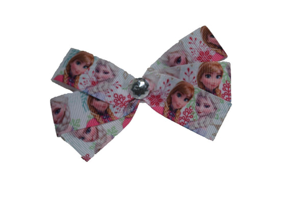 Frozen Elsa Anna White Pink Snowflakes Princess Bow (Disney) - Dream Lily Designs
