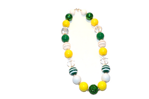 "Green and Yellow Chunky ""Bubblegum Bead"" Necklace (Option 2) - Dream Lily Designs"