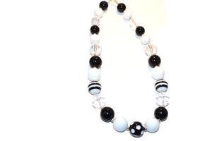 Black White and Clear Chunky Necklace