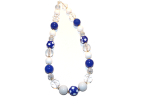 "Blue White and Clear Chunky ""Bubblegum Bead"" Necklace"