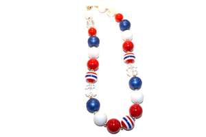 "Red White and Blue Chunky ""Bubblegum Bead"" Necklace - Dream Lily Designs"