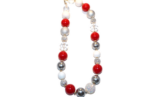 "Red White and Grey Chunky ""Bubblegum Bead"" Necklace (Option 1) - Dream Lily Designs"