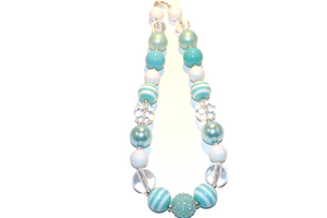 "Aqua and White Chunky ""Bubblegum Bead"" Necklace"