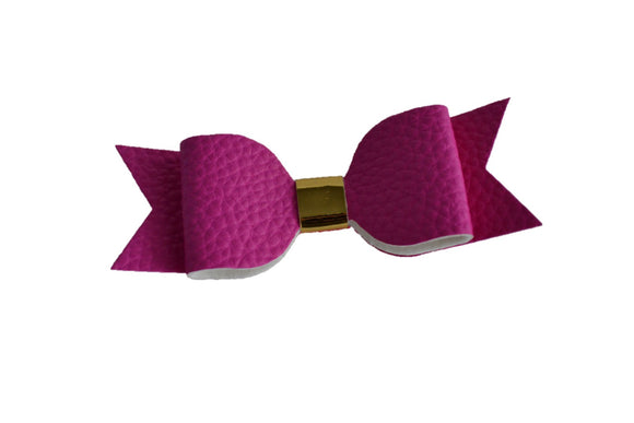 Hot Pink Magenta Leather Bow - Dream Lily Designs
