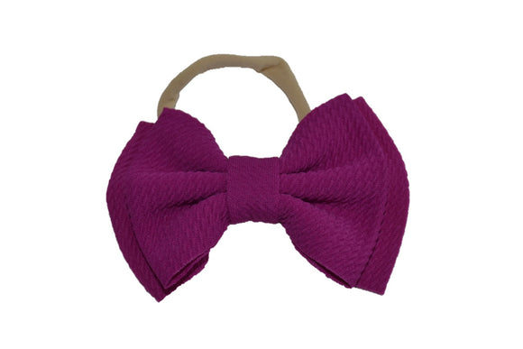 Fuchsia Purple Fabric Double Bowtie Baby Headband - Dream Lily Designs