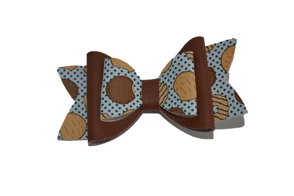 Girl Scout Cookie Brown Large Pattern Leather Bow Clip - Dream Lily Designs