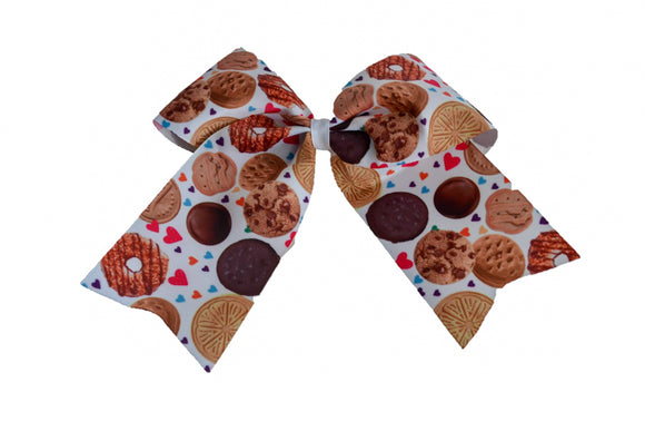 Girl Scout Cookies with Hearts Pattern Ribbon Cheer Bow Clip - Dream Lily Designs