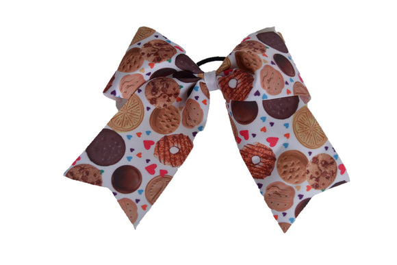Girl Scout Cookies with Hearts Pattern Ribbon Cheer Bow - Dream Lily Designs