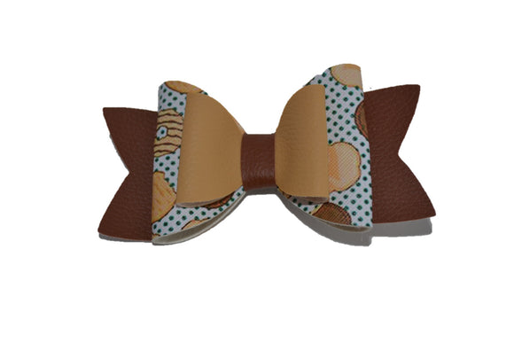Tan Brown Girl Scout Cookie Large Pattern Leather Bow Clip - Dream Lily Designs