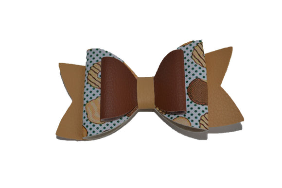 Brown Tan Girl Scout Cookie Large Pattern Leather Bow Clip - Dream Lily Designs