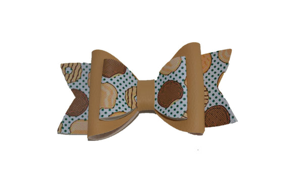 Tan Girl Scout Cookie Large Pattern Leather Bow Clip - Dream Lily Designs