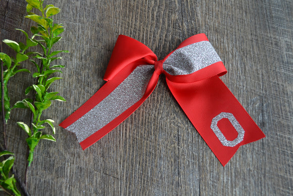 Medium Red and Silver Ohio State Sparkle Cheer Bow Clip - Dream Lily Designs