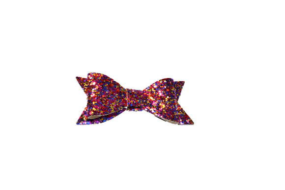 Purple Blue Gold Glitter Leather Bow - Dream Lily Designs