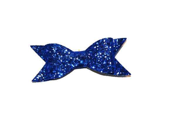 Blue Glitter Leather Large Bow