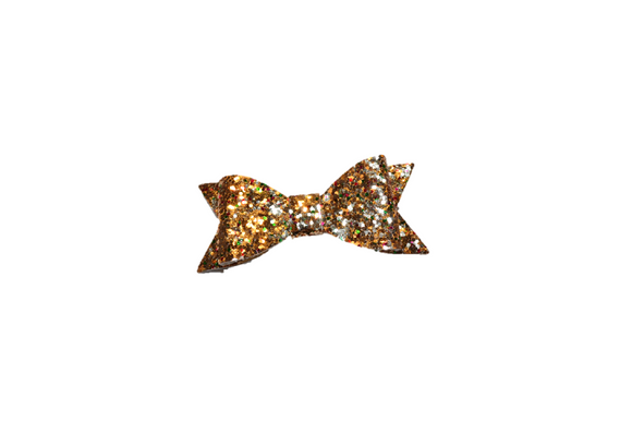 Gold Red Green Glitter Leather Bow