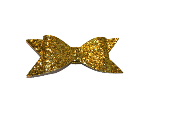 Yellow Gold Glitter Leather Large Bow - Dream Lily Designs