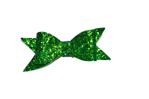 Green Glitter Leather Large Bow