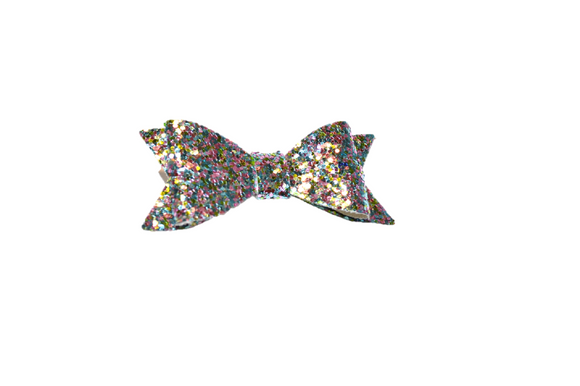 Silver Colorful Glitter Leather Bow - Dream Lily Designs